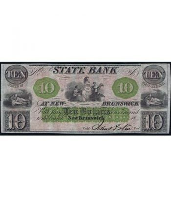 New Jersey. New Brunswick 10$ 18xx. Bank at New-Brunswick. SC.  - 1