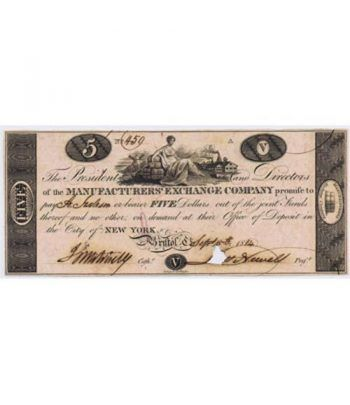 New York 5$ 1814. Manufacturer's Exchange Company. SC.  - 1
