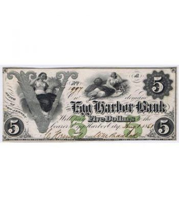 New Jersey. Egg Harbor 5$ 1861. Egg Harbor Bank. SC.  - 1