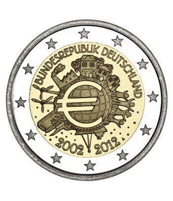 """moneda Alemania 2 euros 2012 """"X ANIVERSARIO DEL EURO"""".(5 cecas)  - 2"""