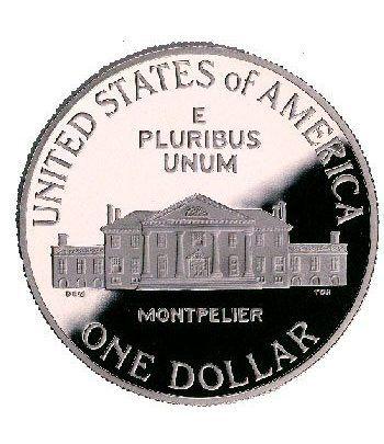 Moneda de plata 1$ Estados Unidos James Madison 1993  - 2