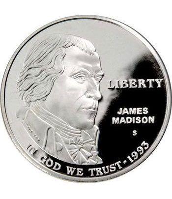 Moneda de plata 1$ Estados Unidos James Madison 1993  - 4
