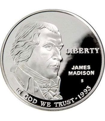 Moneda de plata 1$ Estados Unidos James Madison 1993  - 1