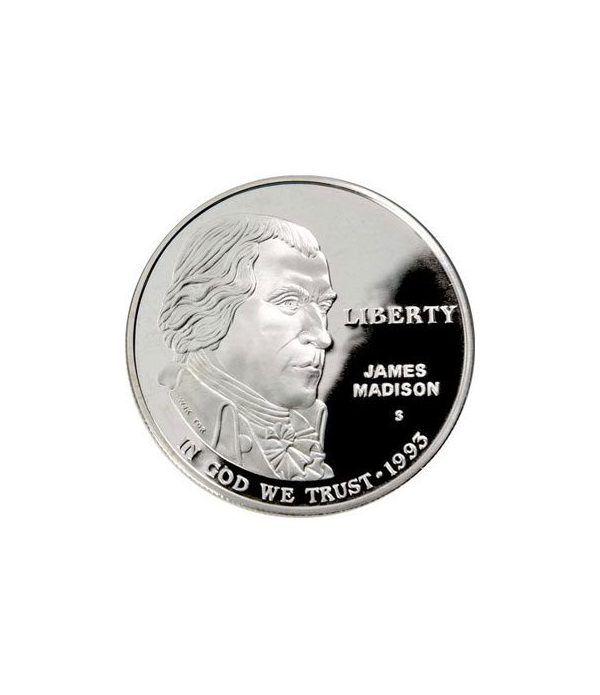 Moneda de plata 1$ Estados Unidos James Madison 1993  - 1