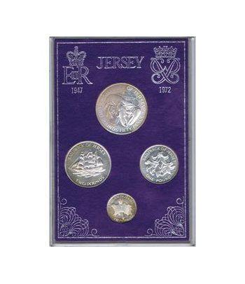 Estuche monedas Jersey 1972. Bodas Plata Reales. 4 mon. (plata)  - 1