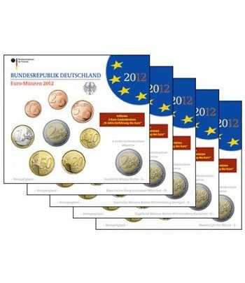 Cartera oficial euroset Alemania 2012 (5 cecas).  - 1