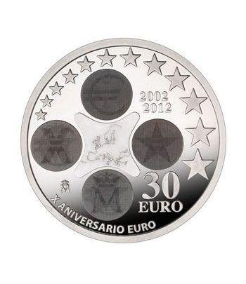 Moneda conmemorativa 30 euros 2012. Xº Aniv. Euro. Plata.  - 1