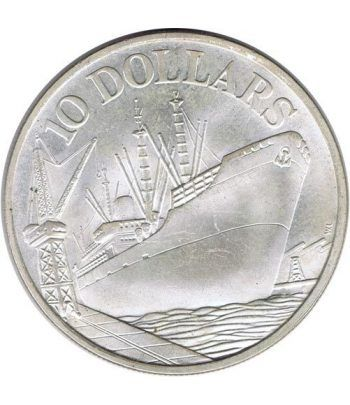 Moneda de plata 10$ Singapur 1976 Aniv. Independencia. Barco.  - 1