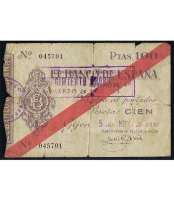 (1936/11/05) Banco de España. Gijon. 100 Pesetas. MBC  - 2