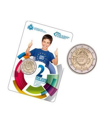 "moneda San Marino 2 euros 2012 ""X ANIVERSARIO DEL EURO"".  - 1"