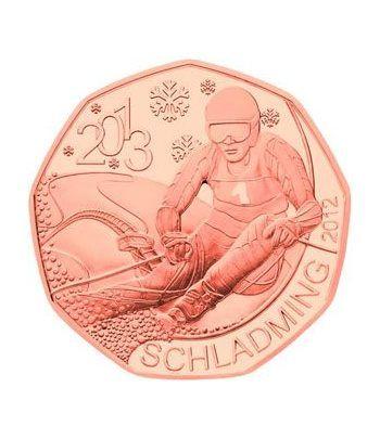 moneda Austria 5 Euros 2012 (nueve esquinas) Mundial Esqui 2013.  - 1