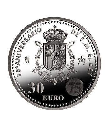 Moneda conmemorativa 30 euros 2013. 75º Aº de S. M. el Rey.Plata  - 1