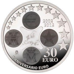 MONEDAS 12 20 30 EURO DE PLATA DE ESPAÑA