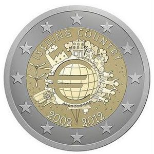 Monedas 2 Euro Xº ANIVERSARIO DEL EURO 2012