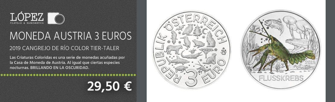 Oferta moneda Austria 3 Euros 2019 Cangrejo de Río color Tier-Taler