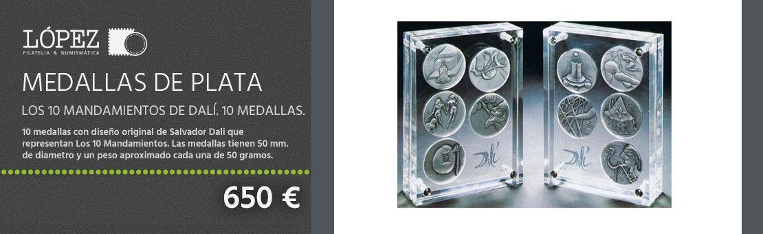 Medallas de plata Los 10 Mandamientos de Dalí. 10 medallas