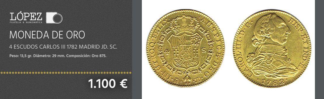 Moneda de oro 4 Escudos Carlos III 1782 Madrid JD. SC.